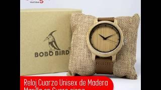 Reloj Cuarzo Unisex de Madera - Manilla en cuero siena