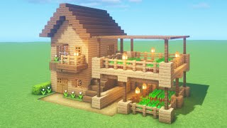 """Minecraft Tutorial: How To Make A Wooden Survival Farm House """"2020 Tutorial"""""""