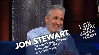 Video Jon Stewart Ribs Stephen For His Recent Language MP3, 3GP, MP4, WEBM, AVI, FLV Maret 2019