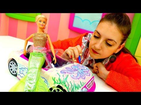 Детское творчество и игры для девочек: фломастеры и новая машина для Барби Новинки на ютуб