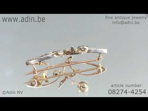 08274-4254 Stylish Art Nouveau bar brooch with diamonds Adin Antique Jewelry.mp4
