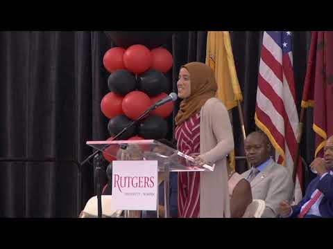 "Thumbnail screenshot of the ""Rutgers-Newark Convocation 2018-SGA President Sabrina Ahmed"" video"
