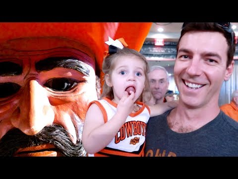 Toddler Meets College Mascot - Oklahoma State Cowboys