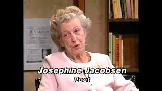 "Recorded in 1995, this edition of HoCoPoLitSo's The Writing Life features poet Roland Flint talking with Josephine Jacobsen about her work. While she published her first poem at age 11, critics agree her best writing has been done while she was in her 70s and 80s. Poet Stanley Kunitz declared that Jacobsen was ""post-cocious."" She reads ""A Motel in Troy, New York,"" ""Mr. Mahoney,"" ""Birdsong of the Lesser Poet,"" ""It is the Season,"" ""Notes from a Lenten Bar,"" (a poem she says is more personal than she usually reads), ""Softly,"" and closes with ""Gentle Reader,"" one of her favorite poems. The two poets talk about rhyme, poetic form, archaeology and the relative amicability of poets. For more information, or to donate to HoCoPoLitSo's live or recorded programming, visit www.hocopolitso.org."