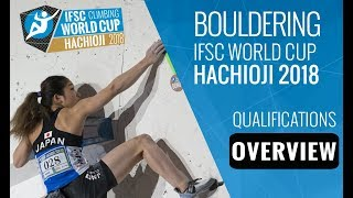 IFSC Climbing World Cup Hachioji 2018 - Bouldering Qualifications Overview by International Federation of Sport Climbing