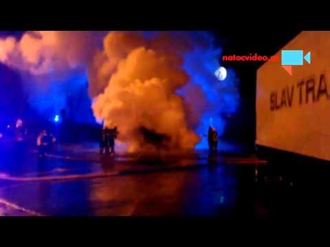 Požár kamionu na benzínce u Rudné 20. 11.  video 3