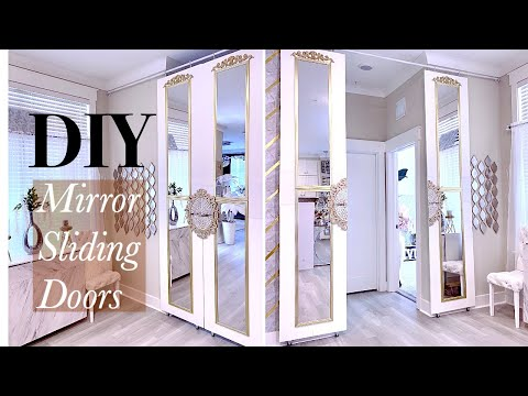 MIRROR SLIDING DOOR DIY USING WALMART MIRRORS! EASY HOME IMPROVEMENT IDEAS