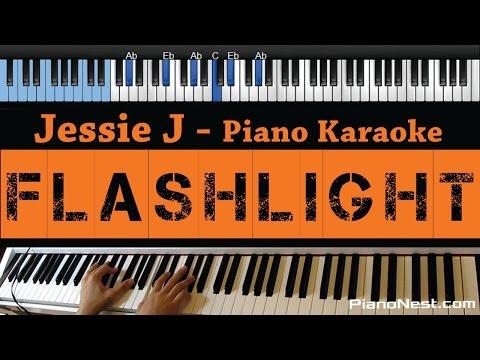 Jessie J - Flashlight - LOWER Key (Piano Karaoke / Sing Along / Cover with Lyrics) - Pitch Perfect 2
