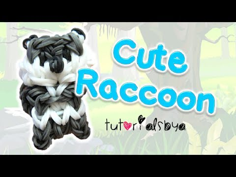 Cute Raccoon Charm / Mini Figurine Rainbow Loom Tutorial   How To