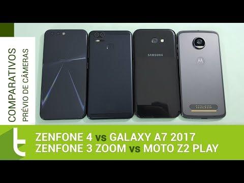 Zenfone 4, 3 Zoom, Galaxy A7 2017 e Moto Z2 Play  Comparativo prévio de câmeras do TudoCelular