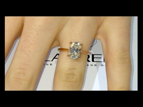 2 ct Oval Diamond Engagement Ring in a Cathedral Solitaire Design