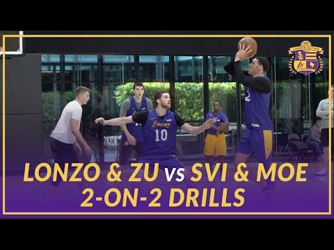 Video: Lakers Practice: 2 on 2 drills, Lonzo Ball & Ivica Zubac vs Svi Mykhailiuk & Moe Wagner