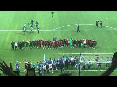 Liverpool players singing You'll Never Walk Alone after Super Cup 2019