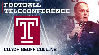 2017 Football Teleconference Week 13 - Temple Head Coach Geoff Collins