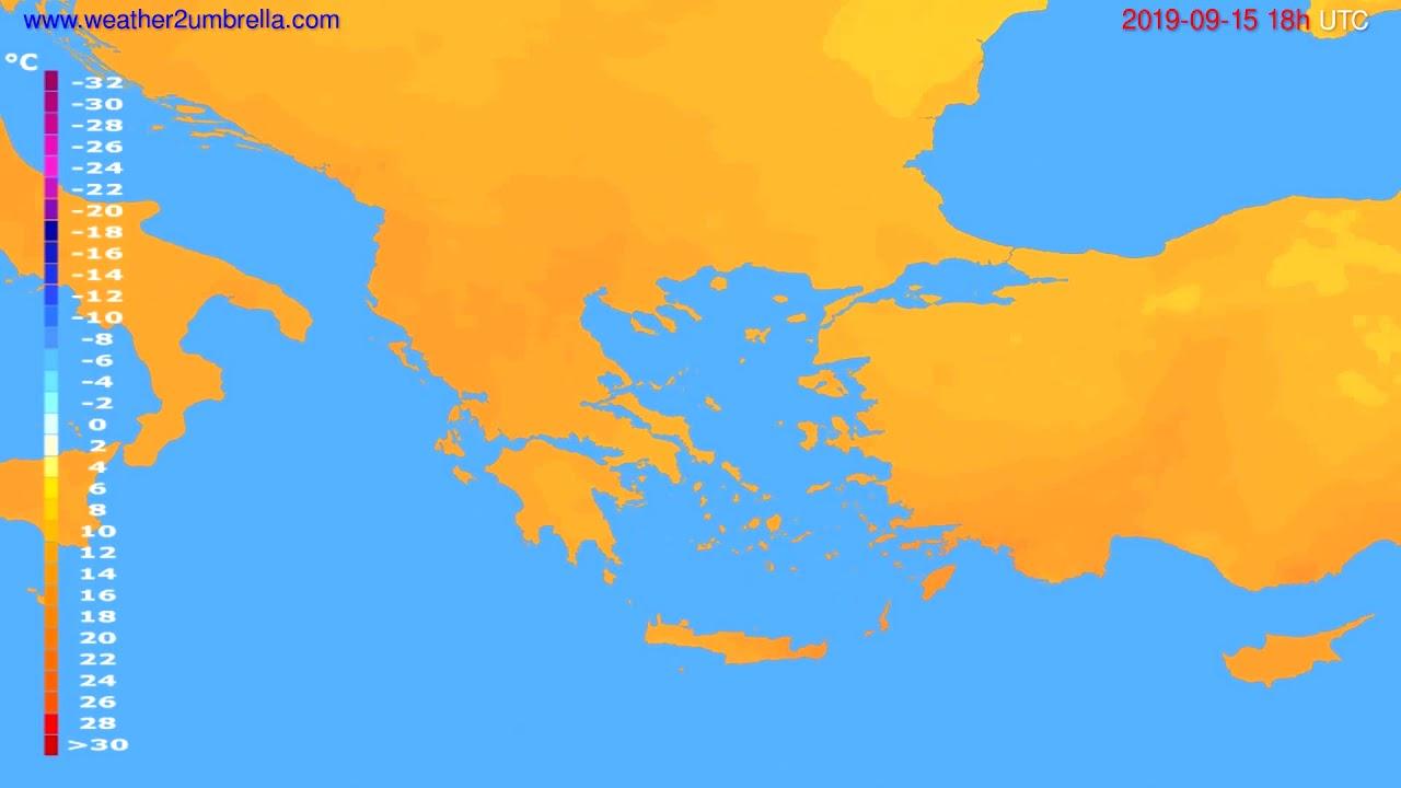 Temperature forecast Greece // modelrun: 12h UTC 2019-09-13