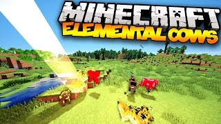Minecraft: ELEMENTAL COWS! (Fire-Breathing Cows, Tornado Cows,&MORE!) | Mod Showcase