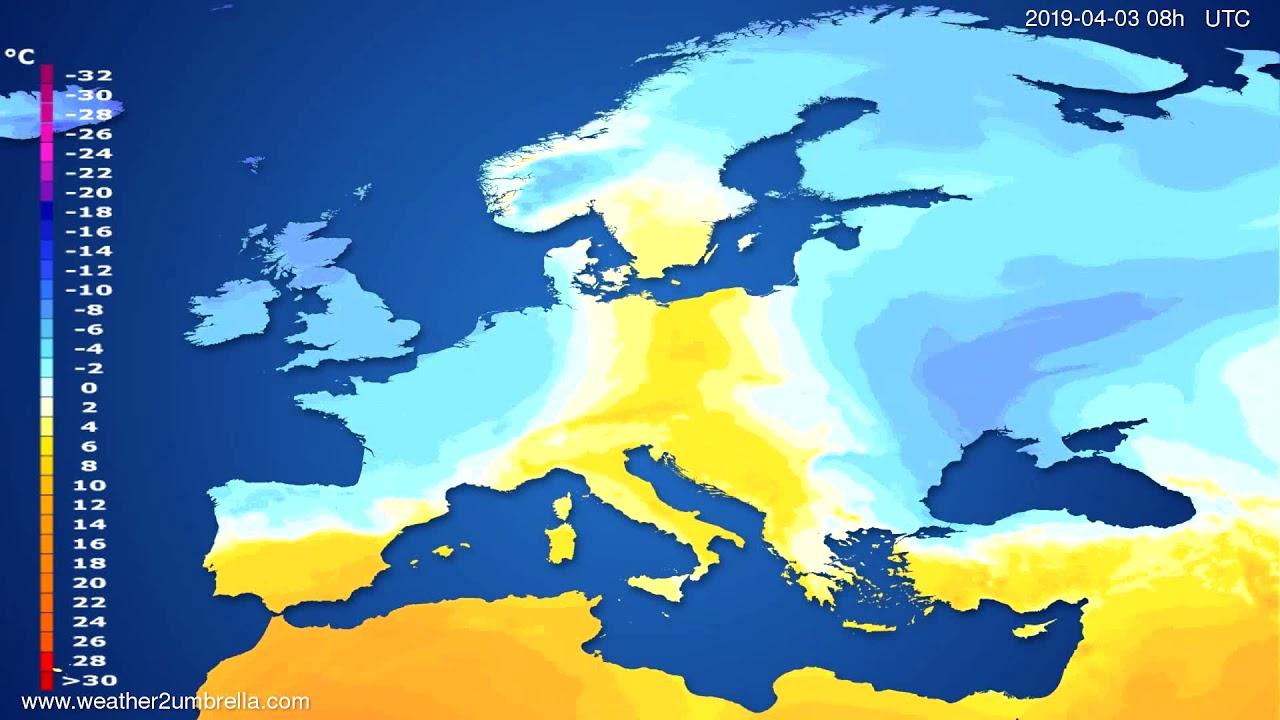 Temperature forecast Europe 2019-03-31