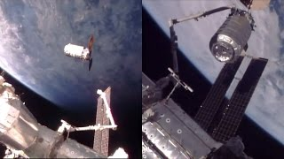 "Orbital ATK's Cygnus ""S.S. John Glenn"" cargo spacecraft was captured using the International Space Station's robotic Canadarm2 ..."