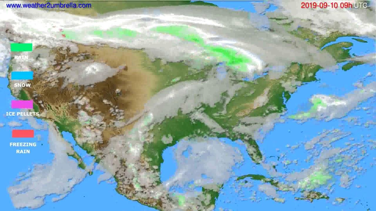 Precipitation forecast USA & Canada // modelrun: 12h UTC 2019-09-08