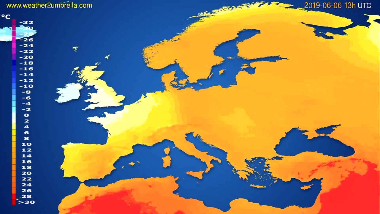 Temperature forecast Europe // modelrun: 12h UTC 2019-06-04