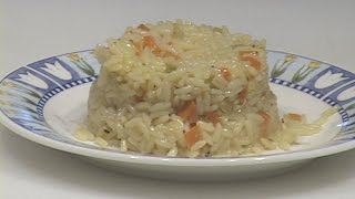 This video demonstrates a simple and tasty variation on one of the many ways to prepare white converted rice pilaf.  The term pilaf only refers to a method of cooking rice covered and mainly undisturbed until done.  The addition of saffron to this particular rice formula is clearly an option based on the cook's taste preferences.  This preparation is perfect with or without the saffron.  This kind of rice (converted) is popular because of its quick cooking time which is due to the fact that its been precooked and re dried before it's packaged and sold.   In fact, I demonstrate for you that soaking the rice in very hot liquid is almost enough cooking time to render it ready to eat.  This method of soaking the rice in very hot water or stock also doubles as a safety measure for not overcooking it and usually yields a cooked rice that has a great texture and is never stuck together.  If you put nutrition considerations aside you will find that the texture and taste of any prepared rice represents almost 100% of its appeal.
