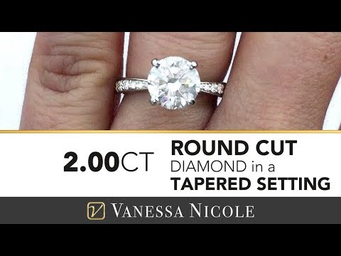 2ct ROUND DIAMOND WITH PAVE DIAMONDS | Tapered Engagement Ring | Vanessa Nicole Jewels