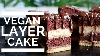 Chocolate & Vanilla Layer Cake | Vegan & Low Fat!