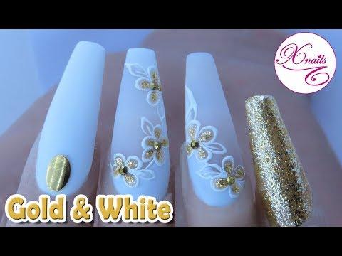 Videos de uñas - Uñas Acrílicas Gold & White Matt / Xnails