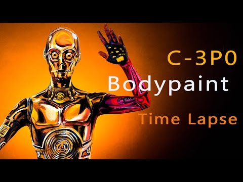 Amazing Star Wars C3PO Body Paint Tutorial Time