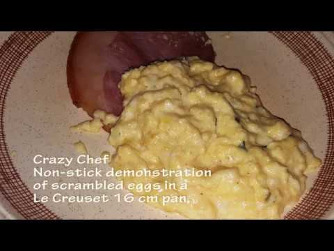 Le Creuset Nonstick Test of a 16cm Milk-pan to scramble eggs . Crazy Chef