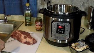 Making a Very Tender Swiss Steak Meal with Mushrooms, Gravy and Garlic! Egg Noodles on the side. Pressure cookers ...