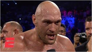 Tyson Fury screams 'bring em all on' after KO of Tom Schwarz | ESPN Boxing