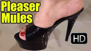 Walking In Black Pleaser Mule Platform High Heels