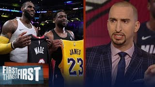 Video Nick Wright reacts to LeBron James & Dwyane Wade's last on-court meeting | NBA | FIRST THINGS FIRST MP3, 3GP, MP4, WEBM, AVI, FLV Desember 2018
