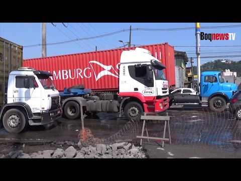 Obras na entrada de Santos aumentam congestionamentos