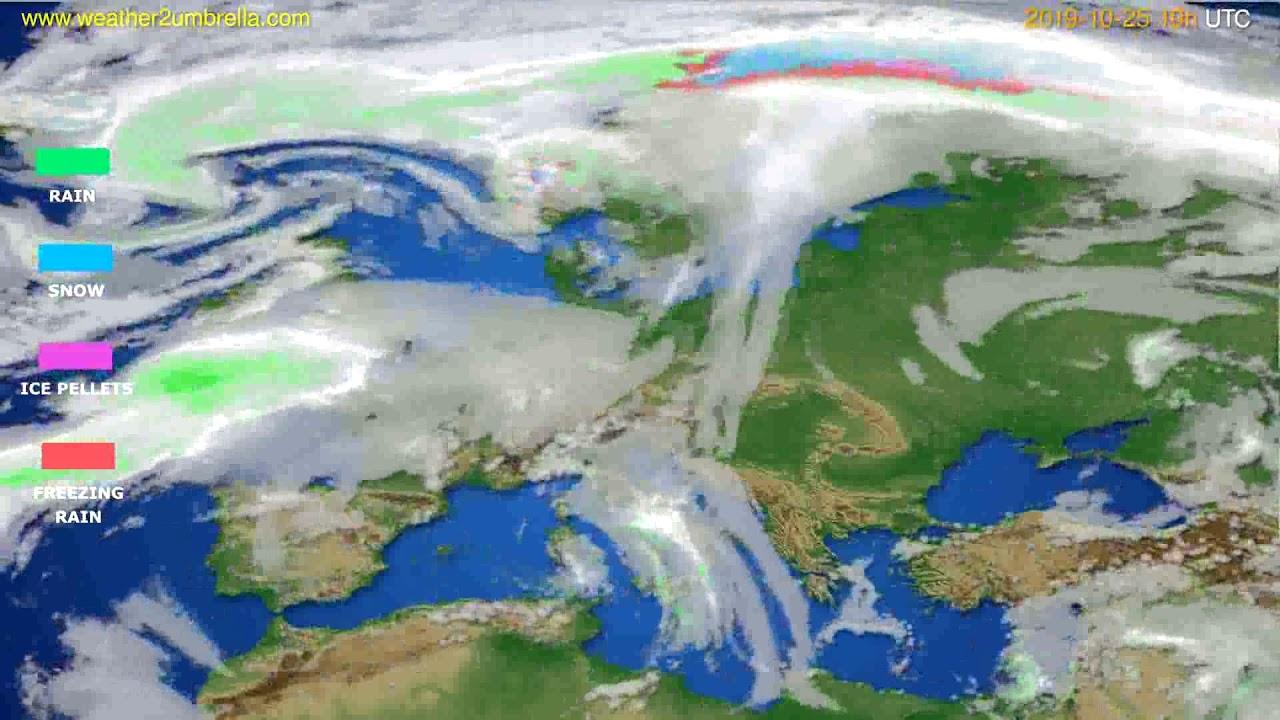 Precipitation forecast Europe // modelrun: 12h UTC 2019-10-22