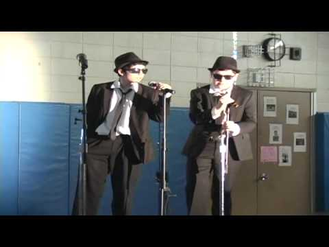 "Two 8th Graders recreate ""Soul Man"" by the Blues Brothers for a talent show."