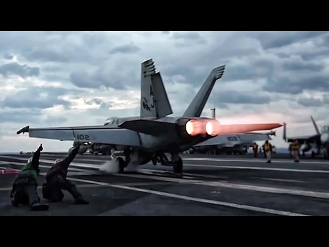 Aircraft Carrier F/A-18 Super Hornets Takeoff (видео)