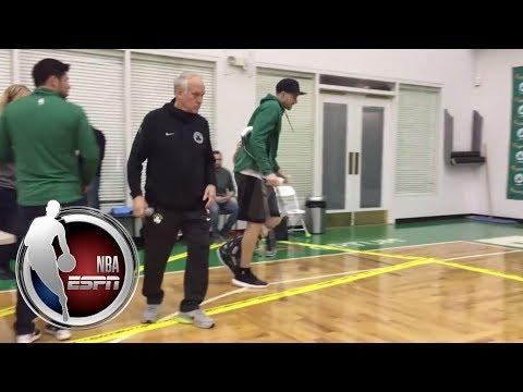Video: Gordon Hayward enters Celtics practice facility on crutches to address the media | NBA on ESPN
