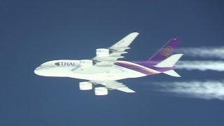 1.6million view!!! Thai Airways A380 & ANA B747 Parallel Flight On the sky ของการบินไทยที่ปรากฏก็