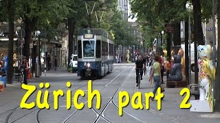 Please subscribe:  http://bit.ly/2pmdyeu  Continuing our in-depth look at Zürich, Switzerland focusing on the modern side of the city showing you the great boulevard, the  Bahnhofstrasse lined with thriving, modern retail frontage from end to end, and some of Zürich's other shopping lanes. We will go out on a lake boat ride, take you on an excursion to a nearby town, visit the main museums, and generally show you around.Bahnhofstrasse is the pride of modern Zurich, and counts as the one and only Boulevard of the city. It is famous for being one of the most exclusive and expensive shopping streets in the world. Here you can get anything from diamond rings to chocolate to fur coats. About 140 stores are located along it.  A study In 2011 named the Bahnhofstrasse the most expensive commercial rent for retail property in Europe. We'll take you up and down the full length of Bahnhofstrasse on foot and in the tram.By the way the reason that we can present such a long and comprehensive program about Zürich is that it was filmed during 10 visits to Zürich in recent years.Zürich's Hauptbahnhof is the busiest train station in the world as measured by total number of daily trains, but the Hauptbahnhof is more than just a train station – it's like a small town in itself. There are many restaurants and bars and cafes and the lower level has got a vast shopping mall, and it is really popular because these stores are open at night and on Sundays when many of these stores in the city are closed. You'll find a whole variety of shops available here, not just travel items, luggage stores, but clothing stores and sundries, there is the sandwich shops, there is the stationary places, all kinds of ways to spend your money. If you're here towards the end of September you might get lucky and run into the Oktoberfest celebration. These are Swiss, they also like their beer and their lederhosen and their sausages, very similar to Munich in southern Germany in Bavaria. It's Oktoberfest time wi