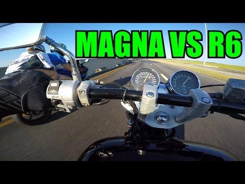 Honda Magna Vs. Yamaha R6 + Trying to Wheelie the Magna (видео)