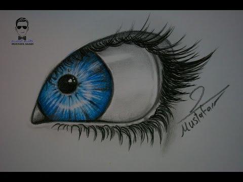 درس رسم العين بالرصاص والالوان الخشبية للمبتدئين خطوة بخطوة