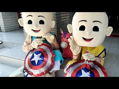 Unboxing Costume Badut Upin  Ipin - Meniup Balon Karakter Captain Amerika  Song Deen Assalam HD