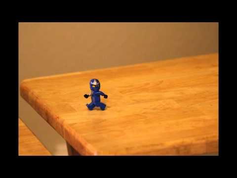 Blue Ninja Go - Nijago Freak Accident!! Blue Ninjago Jay ZX Falls to his Death as He Carelessly Strolls Across the Table Tray.
