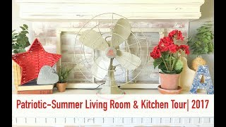 Patriotic Summer Living Room and Kitchen Tour2017