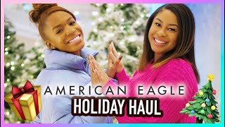 WINTER HAUL + Try On with MY SISTER! 🎄 American Eagle Holiday Collection by VICKYLOGAN