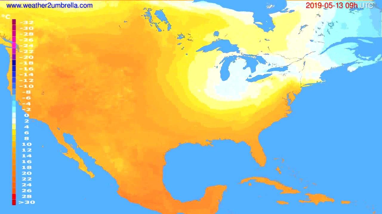 Temperature forecast USA & Canada // modelrun: 00h UTC 2019-05-11