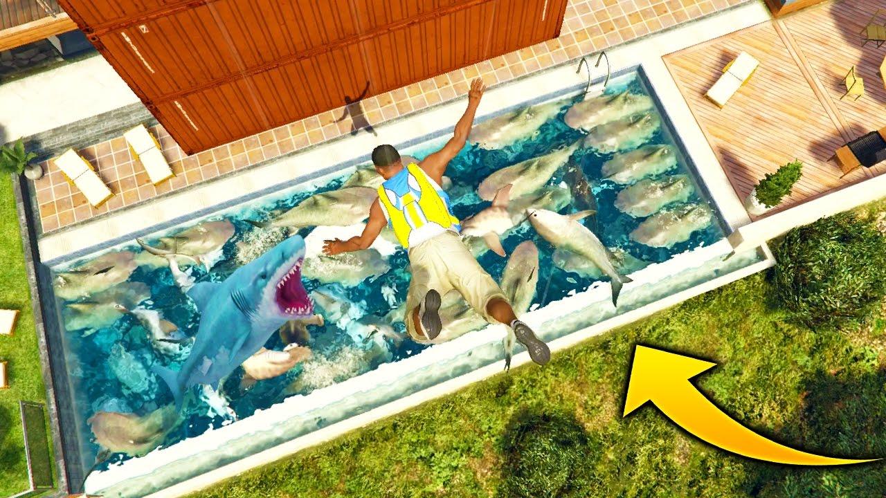 ¿Que Pasa si Saltamos A Una Alberca con 100 Tiburones desde +100 Metros? GTA 5