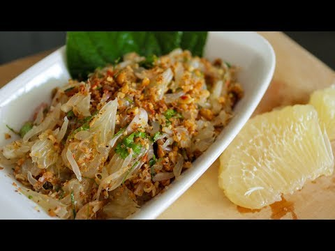 Pomelo Salad Recipe (Yum Som-O) ยำส้มโอ - Hot Thai Kitchen!